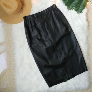 Vintage High Waisted Black Leather Skirt